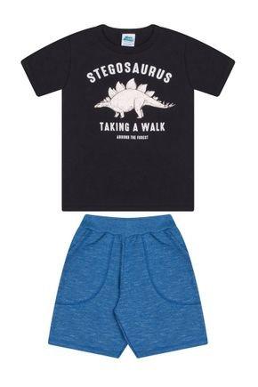 Conjunto Menino Camiseta Preta e Bermuda Azul - Bicho Bagunça