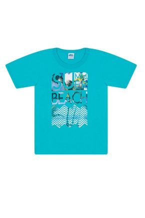 Camiseta Menino em Meia Malha Azul Claro - Bicho Bagunça