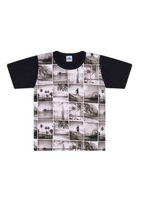 Camiseta Menino em Meia Malha Preta - Bicho Bagunça