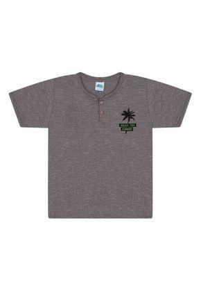 Camiseta Menino em Meia Malha Moulinê Chumbo - Bicho Bagunça