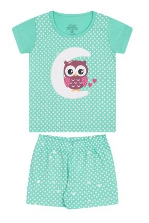 Conjunto Pijama Menina em Meia Malha Verde Claro - Bicho Bagunça