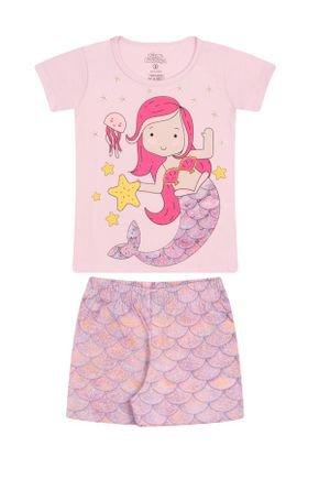 Conjunto Pijama Menina em Meia Malha Rosinha - Bicho Bagunça