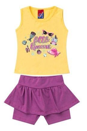Conjunto Menina em Cotton Regata Amarela e Shorts Saia Lilás - Alemara