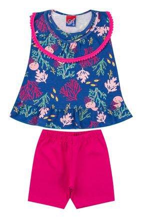 Conjunto Menina Bata Azul Rotativa e Ciclista em Cotton Pink - Alemara