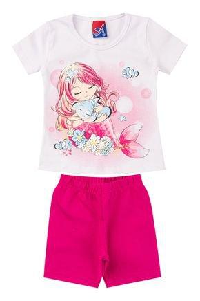 Conjunto Menina em Cotton Blusa Branca e Shorts Pink - Alemara