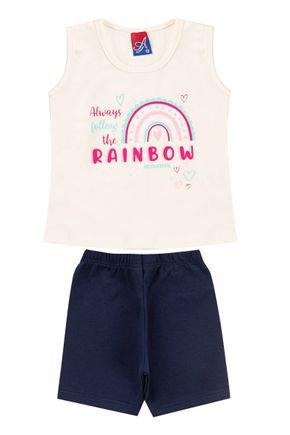 Conjunto Menina em Cotton Regata Off White e Shorts Marinho - Alemara