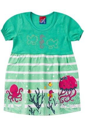 Vestido Menina de Verão Verde com Recorte Rotativo - Alemara