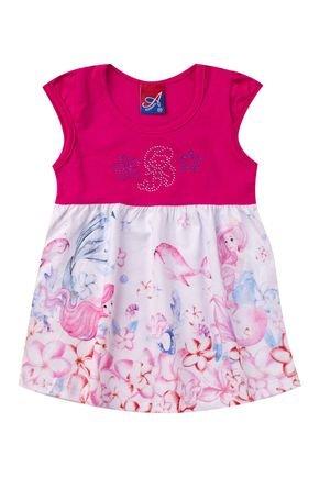 Vestido Menina de Verão Pink com Recorte Branca Rotativa - Alemara