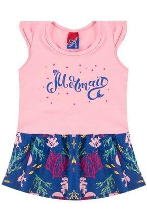 Vestido Menina de Verão em Cotton Rosinha com Recorte Azul - Alemara