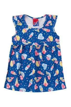Vestido Menina de Verão em Meia Malha Azul Rotativa - Alemara