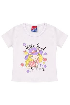 Blusa Menina de Verão em Cotton Branco - Alemara