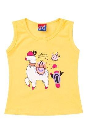 Regata Menina de Verão em Cotton Amarelo - Alemara