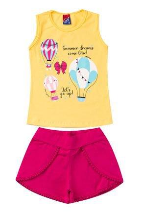Conjunto Menina em Cotton Regata Amarela e Shorts Pink - Alemara