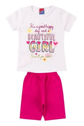 Conjunto Menina em Cotton Blusa Branca e Ciclista Pink - Alemara