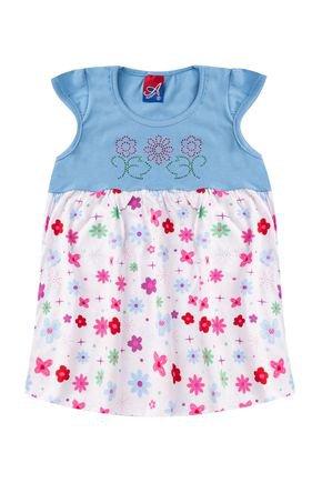 Vestido Menina em Cotton Azul Claro com Recorte Branco Rotativo - Alemara