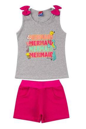 Conjunto Menina Regata Mescla e Shorts em Moletinho Pink - Alemara