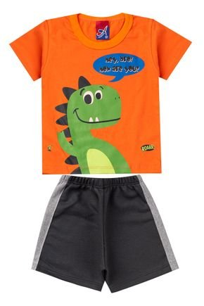 Conjunto Menino Camiseta Laranja e Bermuda Chumbo - Alemara
