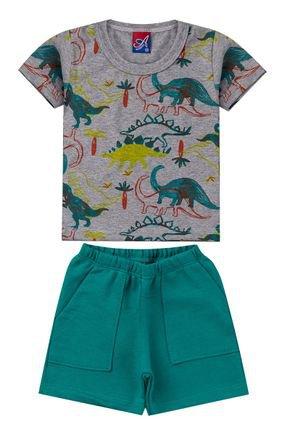 Conjunto Menino Camiseta Mescla e Bermuda Verde - Alemara