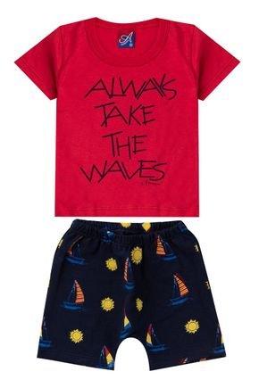 Conjunto Menino Camiseta Vermelha e Bermuda Saruel Marinho - Alemara