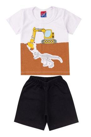 Conjunto Menino Camiseta Branca e Bermuda Preto - Alemara