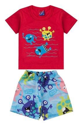 Conjunto Menino de Verão Camiseta Vermelha e Bermuda Azul Claro- Alemara