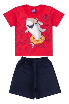 Conjunto Menino de Verão Camiseta Vermelha e Bermuda Marinho - Alemara