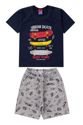Conjunto Menino de Verão Camiseta Marinho e Bermuda Mescla - Alemara