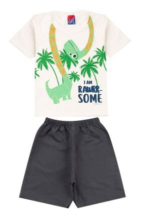 Conjunto Menino Camiseta Off White e Bermuda Chumbo - Alemara