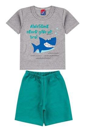 Conjunto Menino de Verão Camiseta Mescla e Bermuda Verde - Alemara