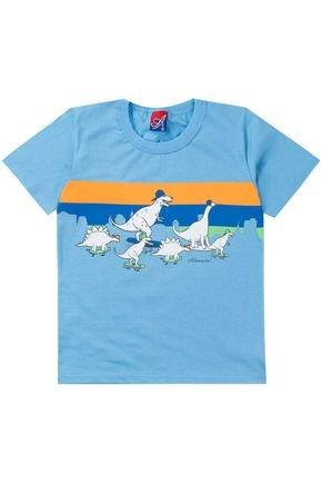 Camiseta Menino de Verão em Meia Malha Azul Claro - Alemara