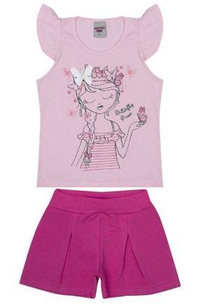 Conjunto Menina de Verão Blusa Rosa Claro e Shorts Pink - Pimentinha