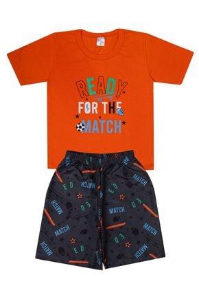 Conjunto Menino de Verão Camiseta Laranja e Bermuda Chumbo - Liga Nessa