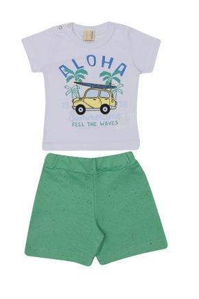Conjunto Menino Blusa Branca e Bermuda Botonê Verde - Hrradinhos