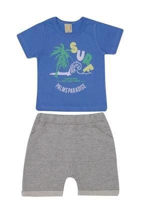 Conjunto Menino Camiseta Azul e Bermuda Mescla - Hrradinhos