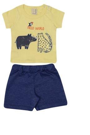 Conjunto Menino Camiseta  Amarela e Bermuda Marinho - Hrradinhos
