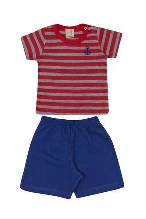 Conjunto Menino Camiseta Vermelha e Bermuda Marinho - Hrradinhos