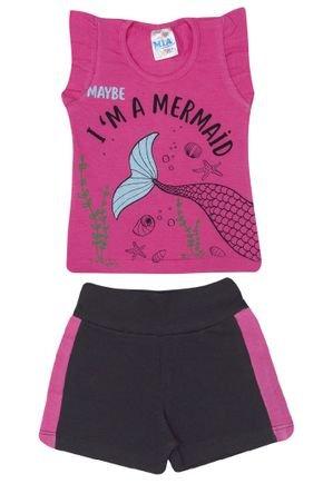 Conjunto Menina Blusa Pink e Shorts em Molecotton Preto - Mia Kids