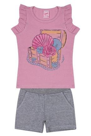 Conjunto Menina Blusa Rosa e Bermuda Mescla - Inovakids