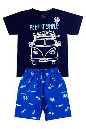 Conjunto Menino de Verão Camiseta Marinho e Bermuda Azul - O2E