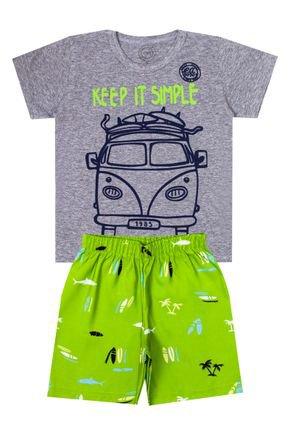 Conjunto Menino de Verão Camiseta Mescla e Bermuda Verde Lima - O2E