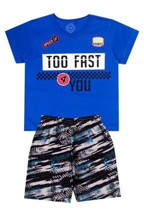 Conjunto Menino de Verão Camiseta Royal e Bermuda Preto - O2E
