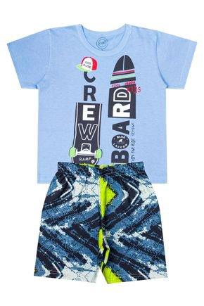 Conjunto Menino de Verão Camiseta Azul e Bermuda Petróleo - O2E