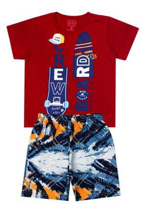 Conjunto Menino de Verão Camiseta Vermelha e Bermuda Azul - O2E