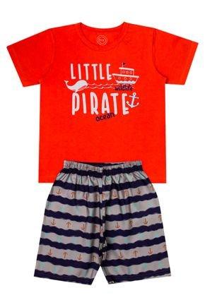 Conjunto Menino de Verão Camiseta Laranja e Bermuda Marinho - O2E
