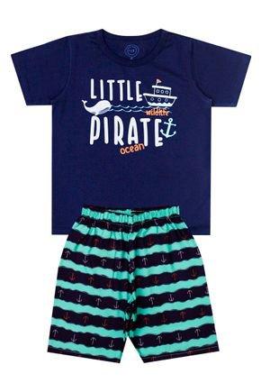 Conjunto Menino de Verão Camiseta Marinho e Bermuda Verde - O2E