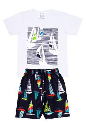 Conjunto Menino de Verão Camiseta Branco e Bermuda Preto - O2E