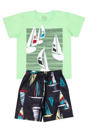 Conjunto Menino de Verão Camiseta Verde Claro e Bermuda Chumbo - O2E