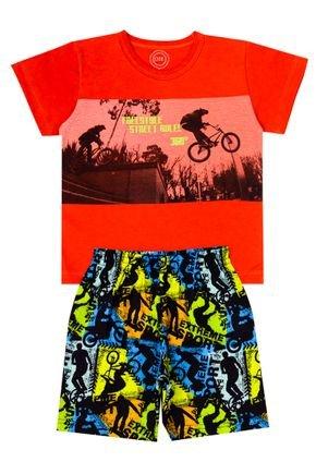 Conjunto Menino de Verão Camiseta Laranja e Bermuda Preto - O2E