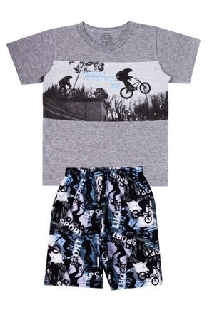 Conjunto Menino de Verão Camiseta Mescla e Bermuda Preto - O2E