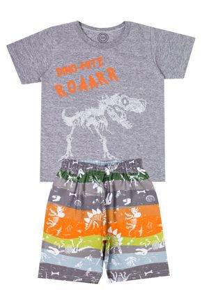 Conjunto Menino de Verão Camiseta Mescla e Bermuda Cinza - O2E